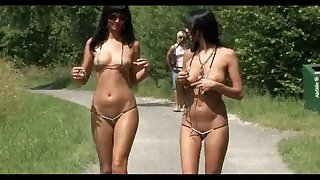 two german girls show their treasures outdoor