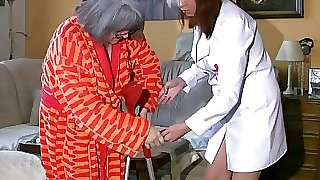 BBW chubby Nurse jack with aged Granny