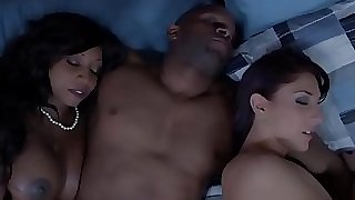 Dark-hued housewife and buddy cum swapping